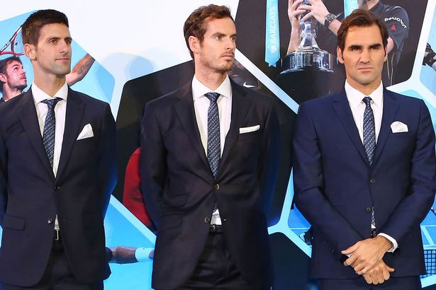 Andy Murray with Novak Djokovic and Roger Federer